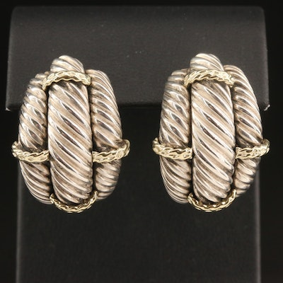 David Yurman Sterling Silver Triple Cable Half Hoop Earrings with 14K Accents