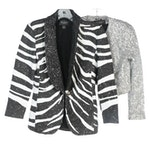 St. John Couture Metallic Sequin Crop Blazer and Sequin Zebra Striped Blazer