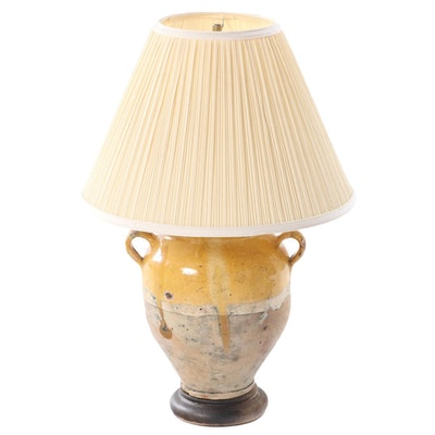 Pottery Drip Glazed Amphora Converted Table Lamp, Mid to Late 20th Century