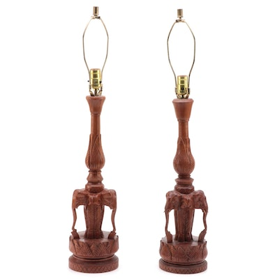 Pair of Asian Carved Teak Elephant Head Table Lamps, Mid/Late 20th Century