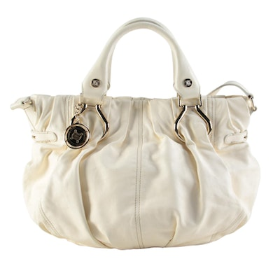Celine Off-White Pleated Leather Two-Way Satchel