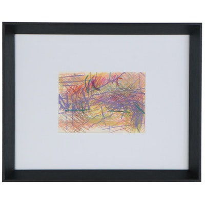 Paul Chidlaw Abstract Expressionist Pastel Drawing