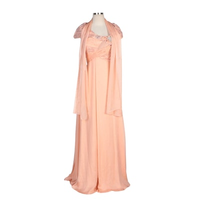 Alberto Makali Coral Silk Capelet Collar Gown with Embellished Bodice and Scarf