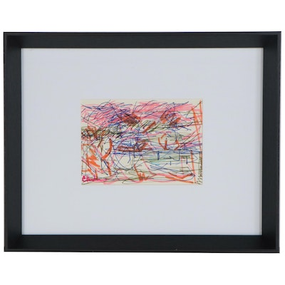 Paul Chidlaw Abstract Expressionist Ink Drawing