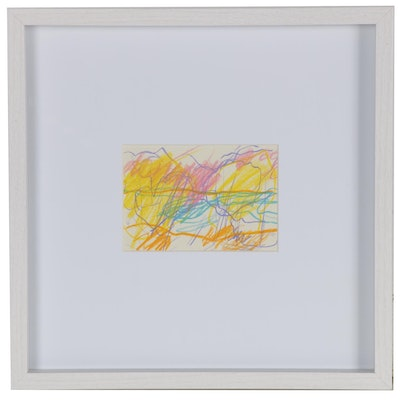 Paul Chidlaw Abstract Expressionist Pastel Drawing, 1979