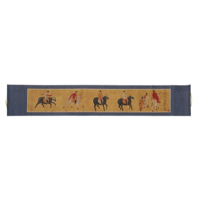 Japanese Gouache Painting of Figures on Horseback on Hanging Scroll