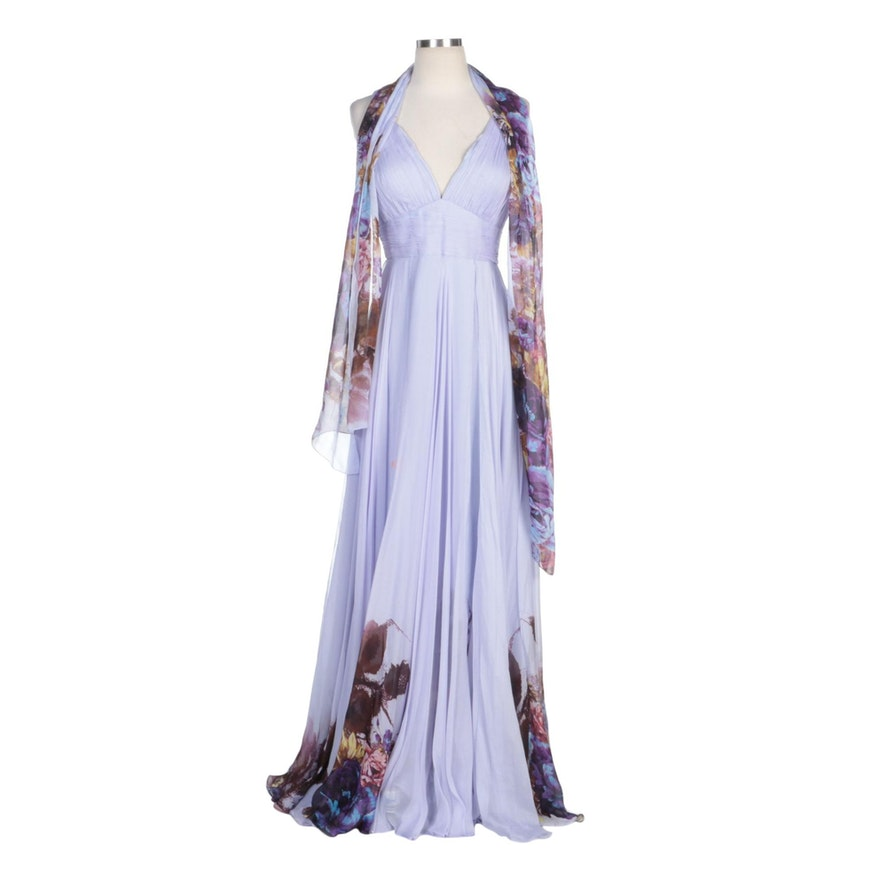Alberto Makali Lilac Silk Pleated Bodice Gown with Floral Print at Hem and Wrap