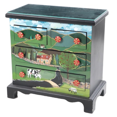 Ebonized and Paint-Decorated Four-Drawer Chest with Pastoral Landscape