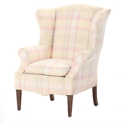 Hepplewhite Style Wingback Chair, Mid-20th Century