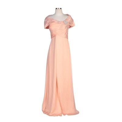 Alberto Makali Pale Coral Silk Capelet Collar Gown with Embellished Bodice
