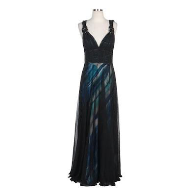 Alberto Makali Black Mesh Overlay Sleeveless Gown
