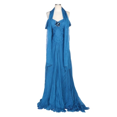 Alberto Makali Embellished Blue Silk Gown with Pleated Detailing and Wrap