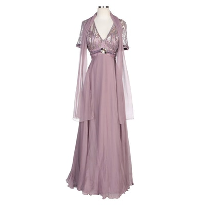 Alberto Makali Mauve Silk Blend Embellished Evening Dress with Wrap