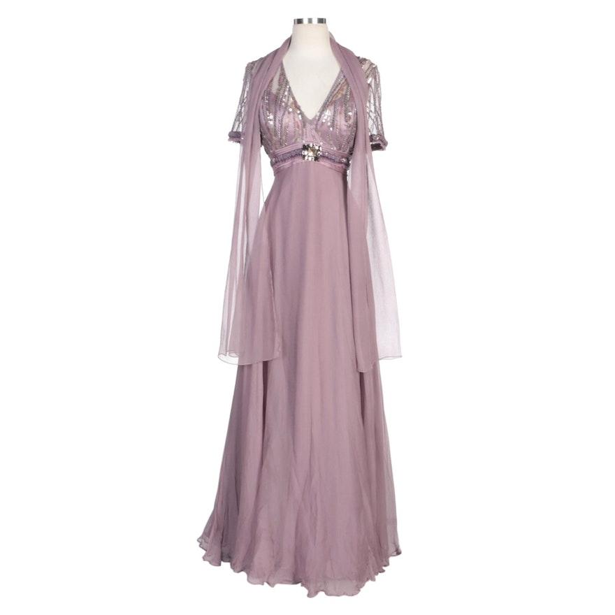 Alberto Makali Mauve Silk Blend Embellished Evening Dress with Wrap
