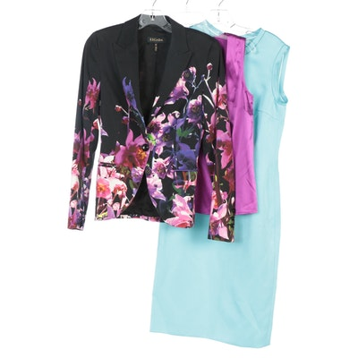 Escada Flora Print Jacket, Sheath Dress and Silk Blend Camisole