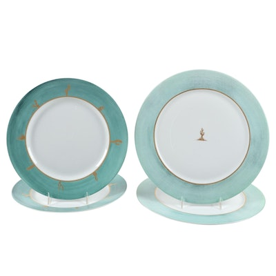 "Hilton McConnico for Daum France ""Cactus"" Porcelain Dinner Plates and Chargers"