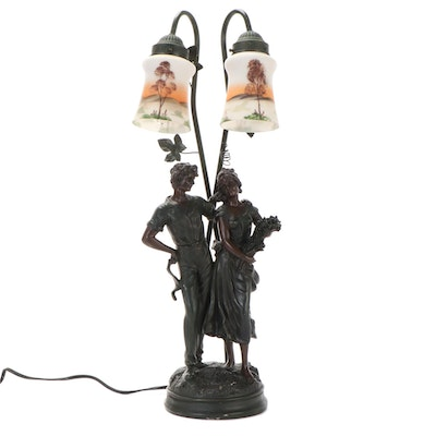 Double Shade Art Nouveau Style Figural Lamp, Late 20th Century