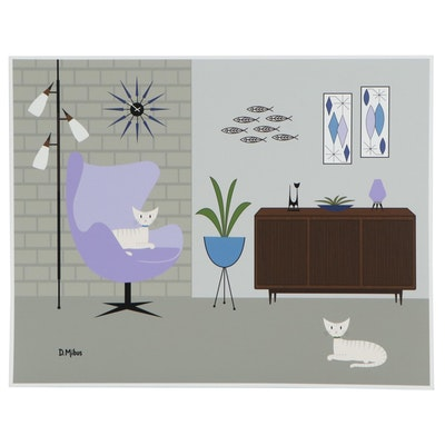 Giclée after Donna Mibus of Mid-Century Modern Interior, 21st Century