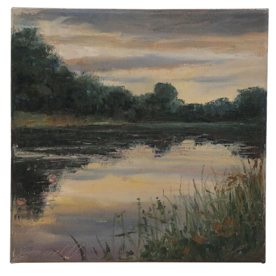 """Garncarek Aleksander Oil Painting """"Dusk,"""" 2020"""