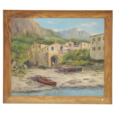 Landscape Oil Painting of the Amalfi Coast, Late 20th Century