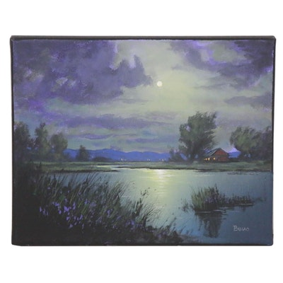 "Douglas Johnpeer Oil Painting ""Rivers Edge,"" 2020"