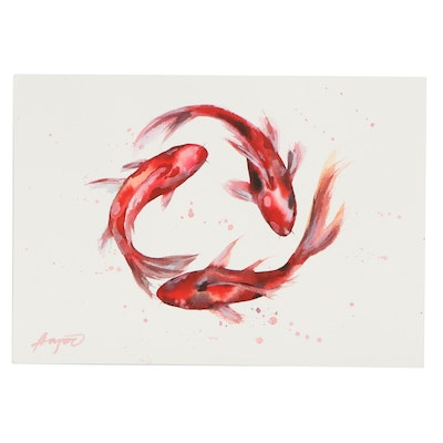 "Anne ""Angor"" Gorywine Watercolor Painting of Goldfish, 2020"