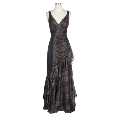 Alberto Makali Metallic Grey Animal Print V-Neck Asymmetrical Tiered Gown