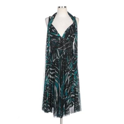 Alberto Makali Printed Mesh Overlay Silk Sleeveless Dress with Matching Scarf