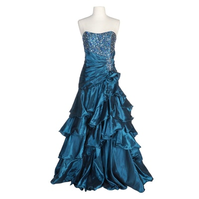 Masquerade Iridescent Blue Tiered Strapless Gown with Beaded Bodice