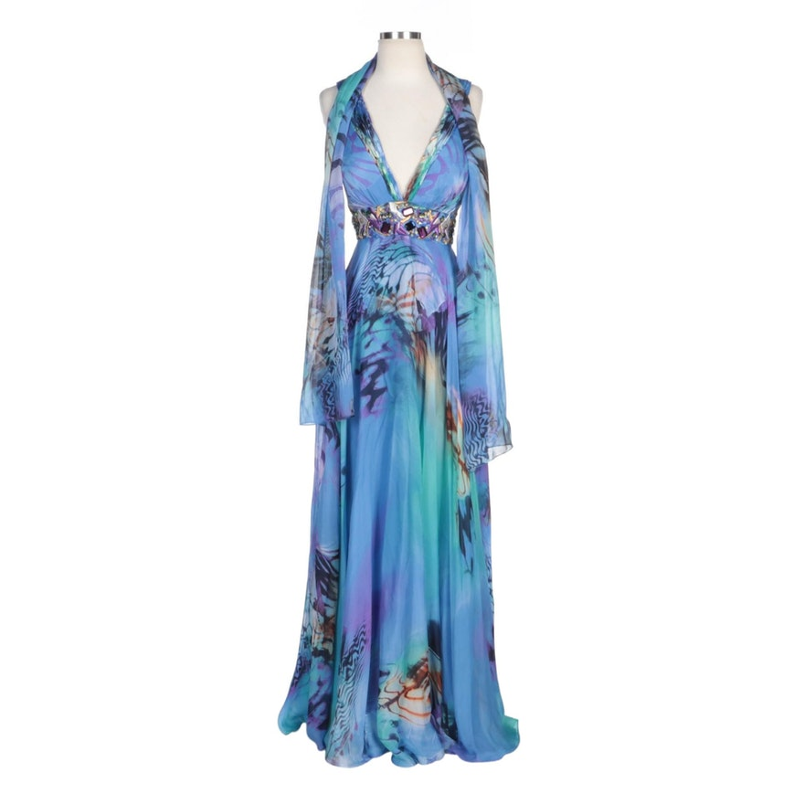 Alberto Makali Blue Silk Abstract Print and Beaded V-Neck Gown with Wrap