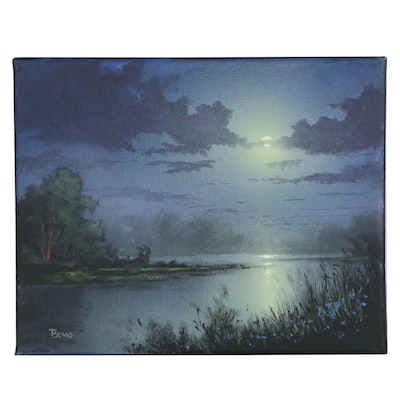 "Douglas ""Bumo"" Johnpeer Oil Painting ""Misty Moon,"" 2020"
