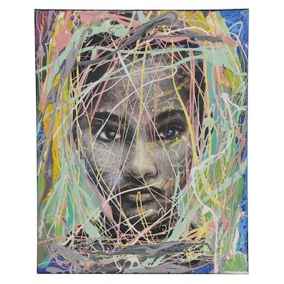 "Abiola Idowu Mixed Media Painting ""Thanksgiving,"" 2020"