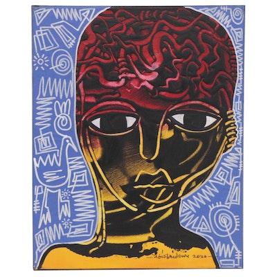 "Abiola Idowu Mixed Media Painting ""Growth,"" 2020"