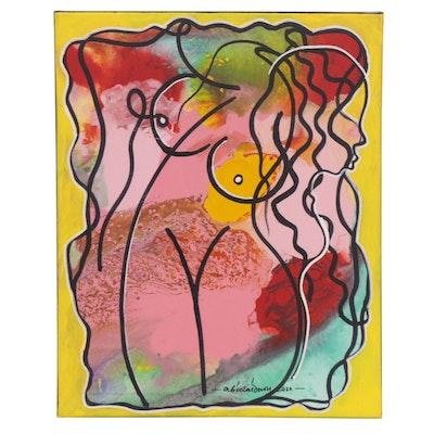 "Abiola Idowu Mixed Media Painting ""Adornment,"" 2020"
