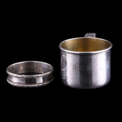 Rogers, Lunt & Bowlen Sterling Silver Baby Cup and Webster Sterling Napkin Ring