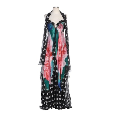 Alberto Makali Beaded and Sequined Printed Silk Gown with Polka Dot Wrap