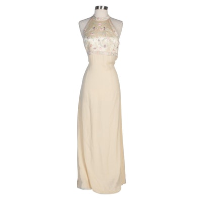 Kay Unger Evening Embroidered Silk and Beaded Halter Evening Dress