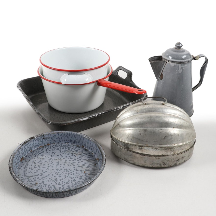 Enamelware and Graniteware Cookware, Coffee Pot, and More