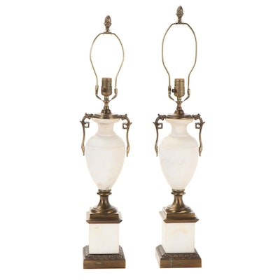 Pair of Westwood Alabaster and Metal Empire Style Table Lamps, Mid-20th C
