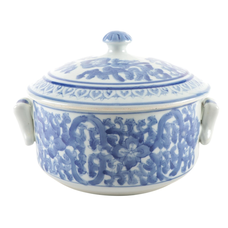 Chinese Blue and White Floral Ceramic Tureen, 20th Century