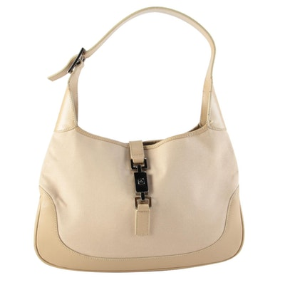 Gucci Jackie Hobo Bag in Beige Canvas and Leather