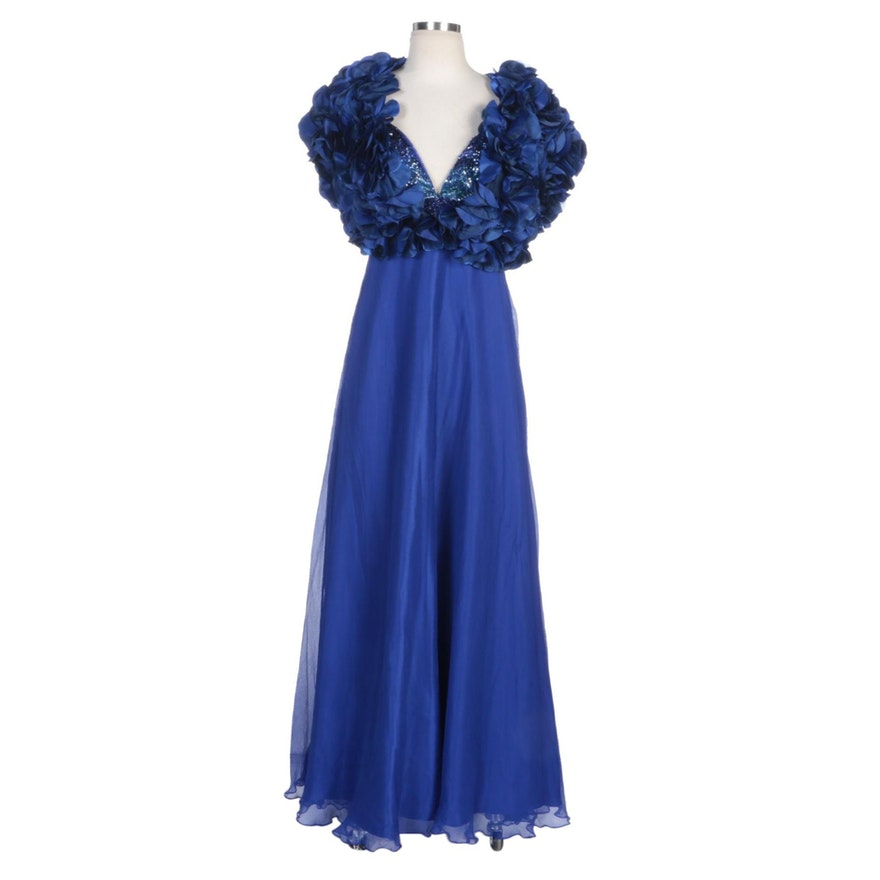 Alberto Makali Blue Silk Beaded Bodice Sleeveless Gown with Blue Rosette Shrug