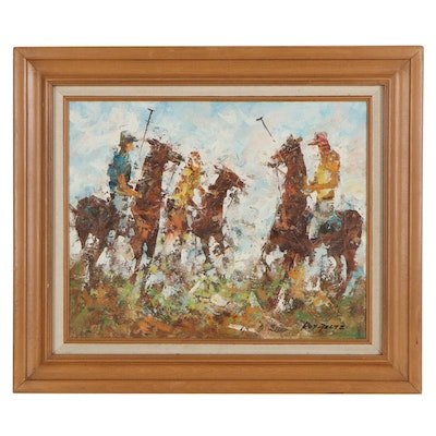 Impressionist Style Oil Painting of Polo Players, Late 20th Century