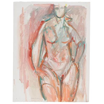 Jack Meanwell Abstract Oil Painting of Figure Study, circa 1980