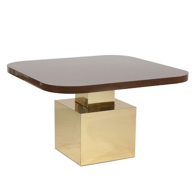 Thayer-Coggin Modernist Brass-Clad and Laminate Adjustable Height Table