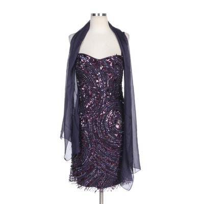 Alberto Makali Beaded and Sequined Occasion Dress in Aubergine with Wrap