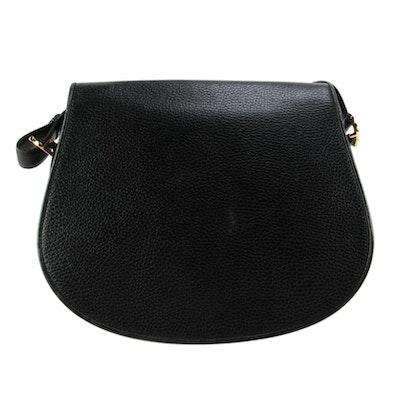 Cartier Must de Cartier Saddle Bag in Black Pebbled Leather