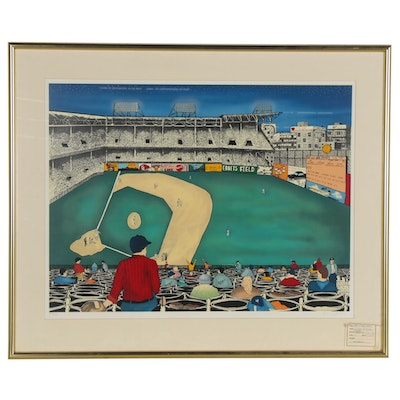 "Linnea Pergola Hand-Embellished Serigraph ""The Old Ball Game,"" Late 20th Century"