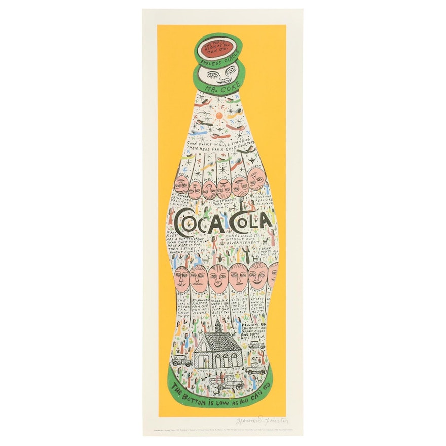 "Howard Finster Offset Lithograph ""Coca Cola,"" 1989"