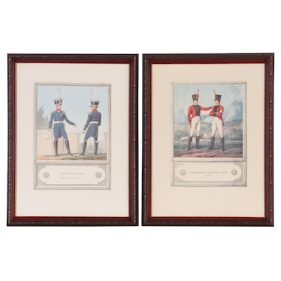 Offset Lithographs of French Uniformed Officers, Mid-20th Century